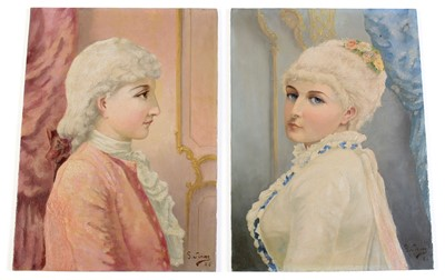 Lot 505 - Louis Gustave Siever: a pair of painted porcelain plaques