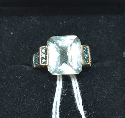 Lot 197 - A contemporary 14ct, green amethyst and green gemstone cocktail ring