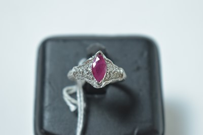 Lot 227 - A contemporary 14ct white gold, ruby and diamond cocktail ring