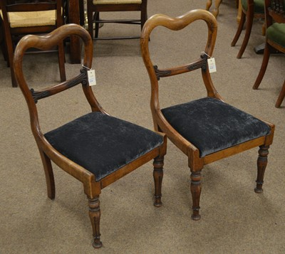 Lot 20A - A pair of Victorian rosewood dining chairs.
