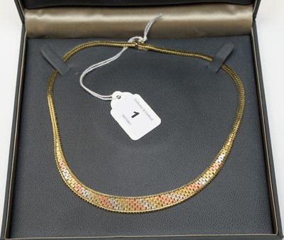 Lot 1 - A 9ct gold tri-coloured collar necklace.