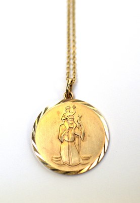 Lot 6 - A 9ct gold St. Christopher pendant on chain.