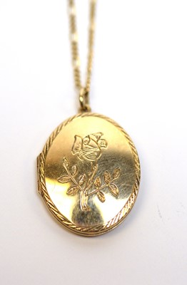 Lot 7 - A 9ct gold pendant locket on chain.