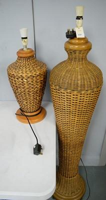 Lot 234 - 20th century rattan standard lamp and similar table lamp
