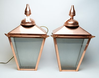 Lot 200 - Pair of copper wall mounting lanterns