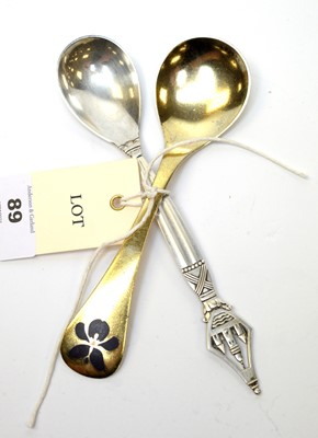 Lot 89 - Two Danish silver spoons by Georg Jensen.