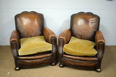 Lot 71 - A pair of Art Deco leather tub chairs.