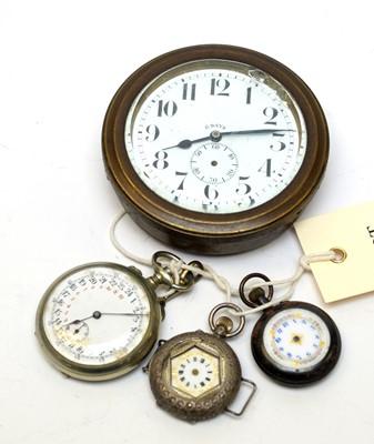Lot 48 - Antique fob/pocket watches and a car clock.