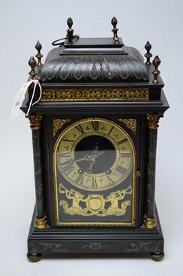 Lot 385 - 19th century ebonised and gilt metal mounted bracket clock