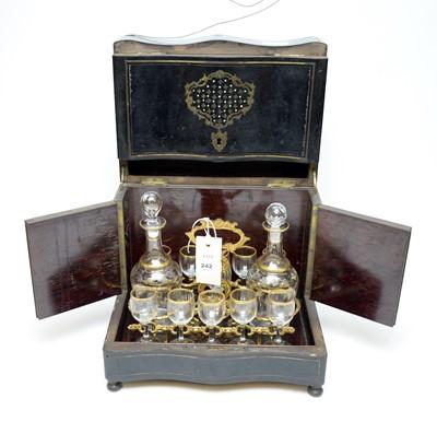 Lot 242 - 19th century inlaid ebonised decanter box