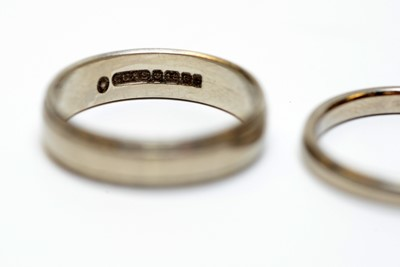 Lot 17 - Two 18ct white gold wedding bands.
