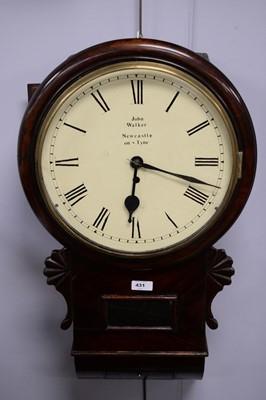 Lot 431 - Late 19th Century mahogany drop dial wall clock