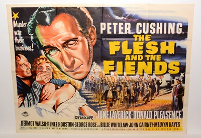"""Lot 1279 - British quad movie poster for """"The Flesh and the Fiends"""""""