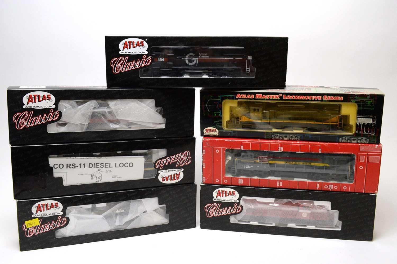 Lot 620 - Seven boxed Atlas HO-gauge trains.