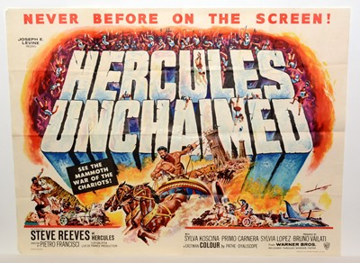 """Lot 1285 - British quad movie poster for """"Hercules Unchained"""""""