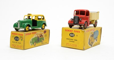 Lot 830 - Dinky Toys Austin taxi and Bedford tipper