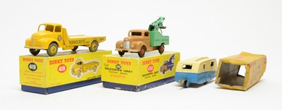 Lot 834 - Dinky Toys Leyland Cement Wagon, Breakdown lorry and caravan
