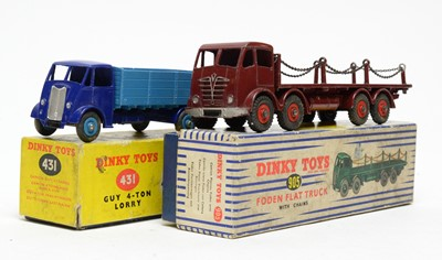 Lot 835 - Dinky Toys Bowdon Flat Truck and Guy 4-ton Lorry