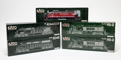 Lot 633 - Five Kato HO-gauge boxed trains.