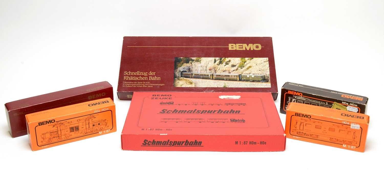 Lot 646 - Six Boxed Bemo HO-gauge trains.