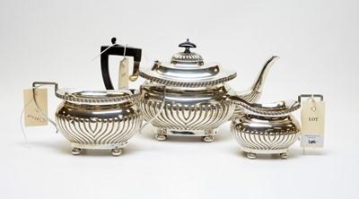 Lot 104 - An Edwardian three-piece silver tea service.