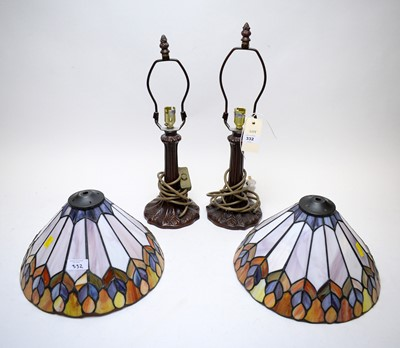 Lot 332 - Pair of Tiffany style table lamps