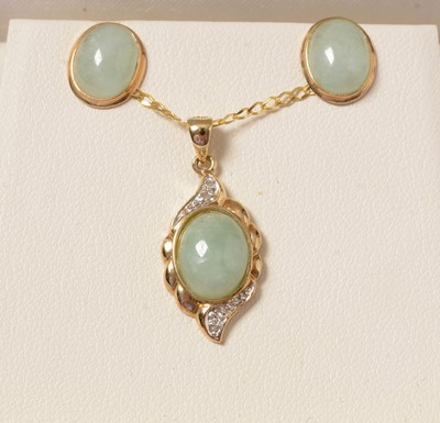 Lot 256 - A 9ct gold, diamond and jade coloured stone pendant necklace and earring set.
