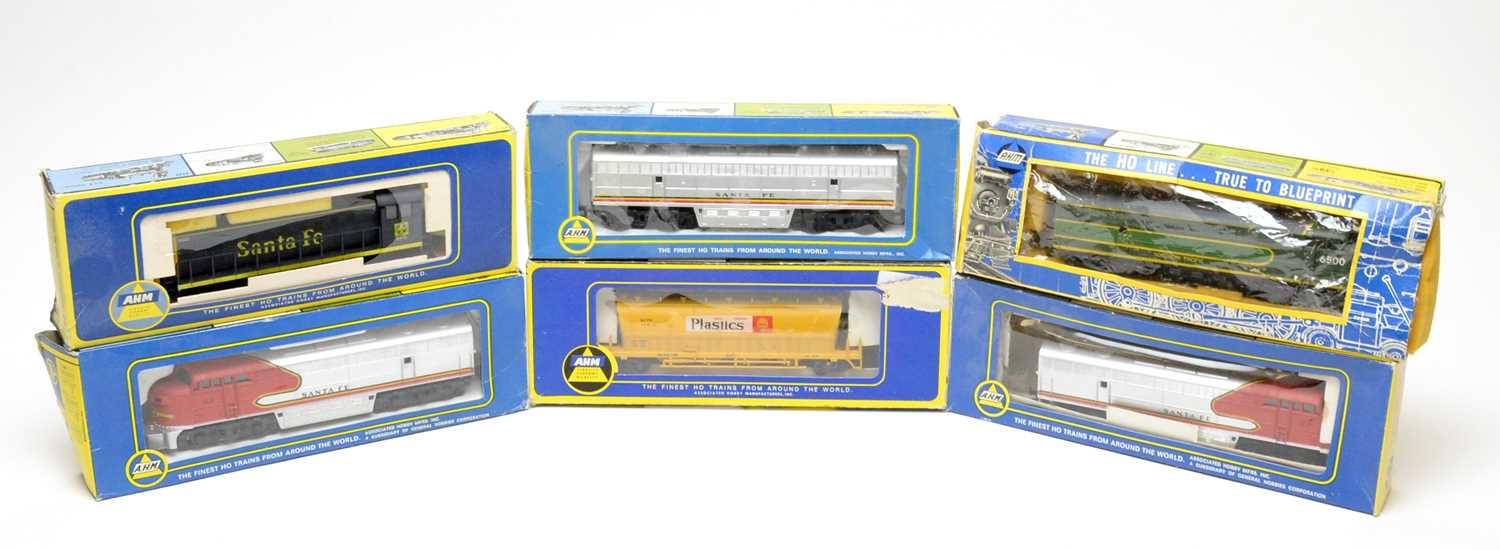 Lot 647 - Six boxed AHM 00-gauge trains and rolling stock.