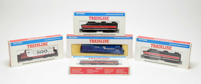 Lot 666 - Five Walthers HO-gauge Trainline boxed trains.