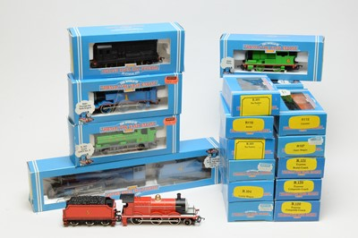 Lot 671 - Hornby Thomas the Tank Engine Series boxed locomotives, rolling stock, and coaches.