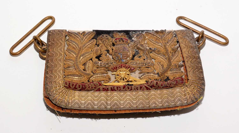 Lot 1063 - A Royal Artillery Officer's bullion wire cross belt pouch