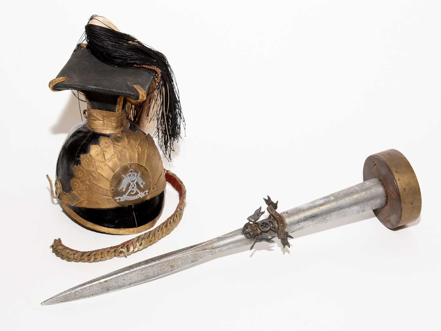 Lot 1068 - An 1868 pattern lance head, together with a miniature replica of a 9th Lancers cap