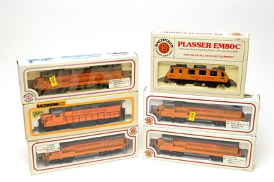 Lot 696 - Six boxed Bachmann HO-gauge Electric Trains Series locomotives, American Outlines.