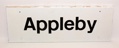 Lot 1208 - An Appleby white and black painted metal station sign