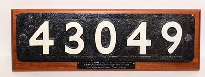 Lot 1212 - Carriage number plate 43049