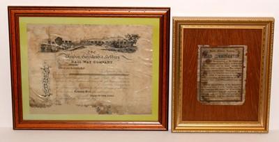Lot 1214 - A blank Blaydon, Gateshead, Hebburn Railway Company share certificate