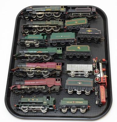 Lot 766 - Nine 00-gauge unboxed locomotives and tenders.