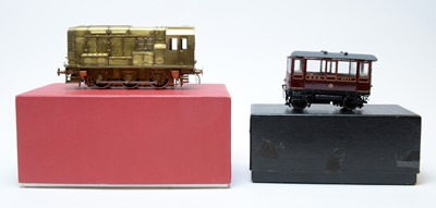 Lot 782 - Boxed Walsworth NER car; and a scratch-built shunter diesel engine.
