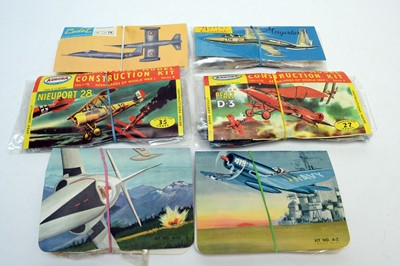 Lot 794 - Six early bagged model construction kits of military aircraft.