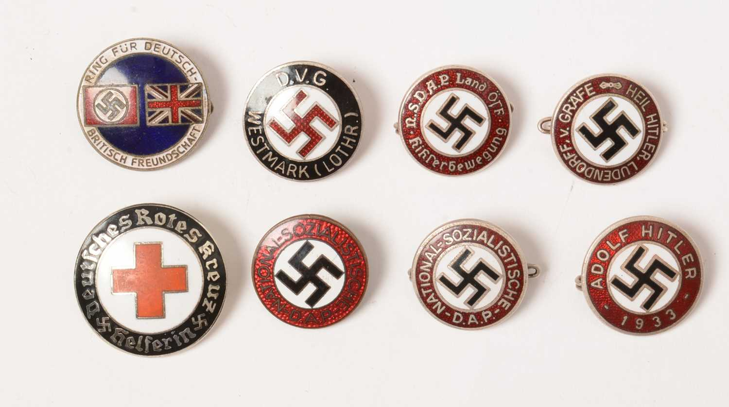 Lot 1053 - A collection of WWII enamel lapel badges