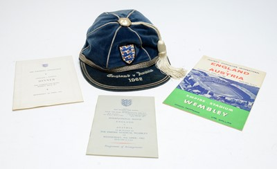 Lot 1254 - An England international friendly cap, awarded to Stanley (Stan) Anderson