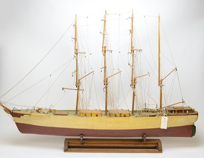 Lot 1207 - A scratch built ship model of a four mastered sailing vessel