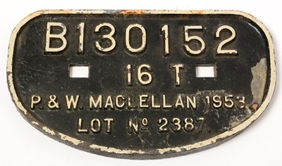 Lot 1229 - A cast iron carriage plate B130152