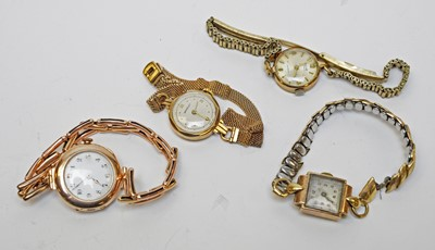 Lot 5 - Four ladies' 9ct gold cased wristwatches