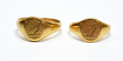 Lot 16 - Two antique 18ct gold signet rings.