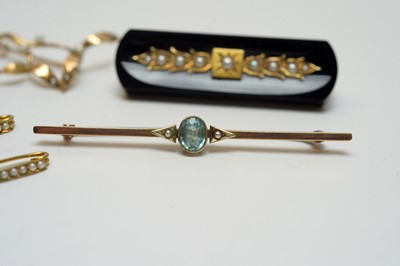 Lot 19 - Six Victorian and Edwardian yellow-metal and seed pearl brooches.