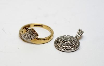 Lot 25 - Diamond set pendant and dress ring.