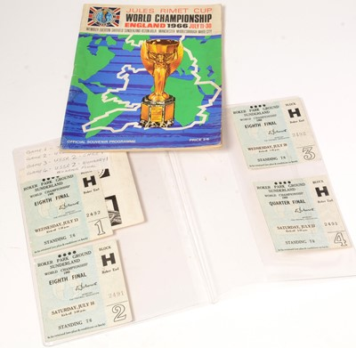 Lot 1243 - A collection of World Cup 1966 ticket stubs for games played at Roker Park