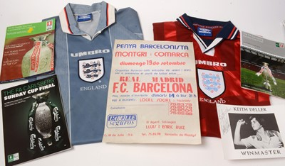 Lot 1242 - Sports interests including two England replica shirts