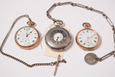 Lot 220 - A silver half-hunter pocket watch and two rolled-gold pocket watches.